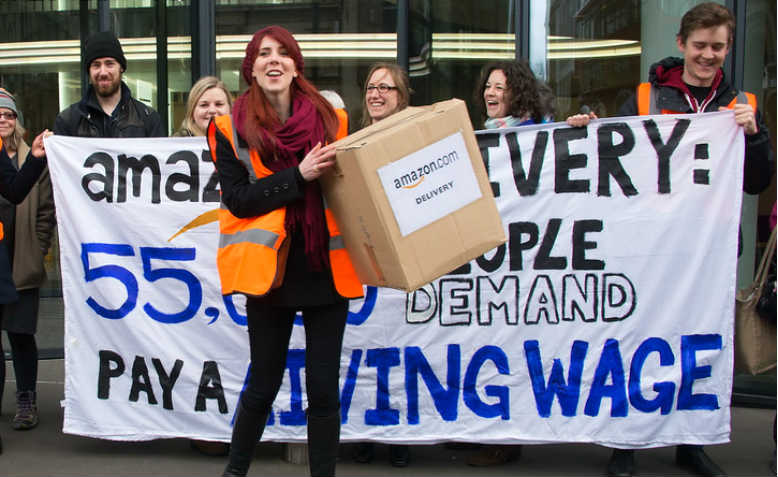 Amazon warehouse workers protest outside its London HQ on 28 February 2014. Photo: Flickr/PictureCapital.
