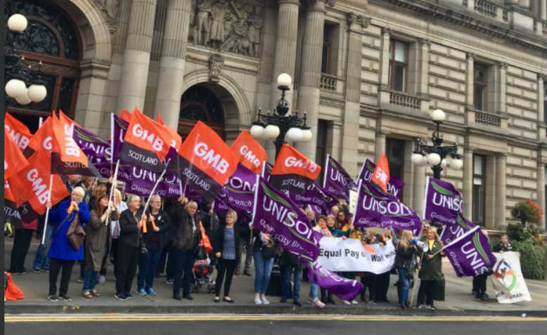 Unison and GMB members protesting outside council meeting, September 2018. Photo: Twitter/Unison_Glasgow