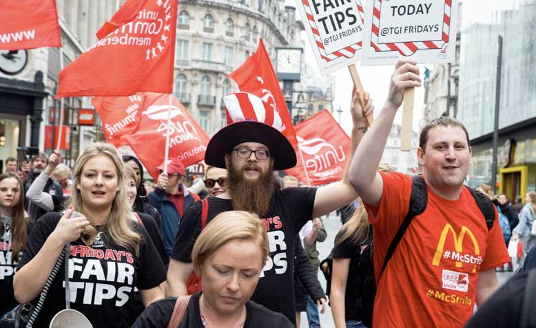 TGI Fridays workers protest during strike. Photo: @unitetheunion