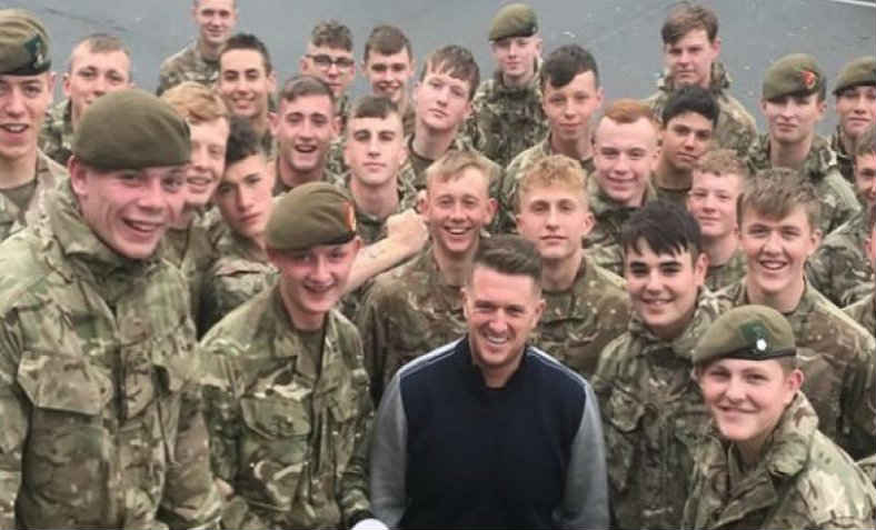 Tommy Robinson with British soldiers