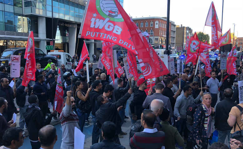 Uber Strike rally outside Aldgate Tower, 9 October 2018. Photo: Shabbir Lakha