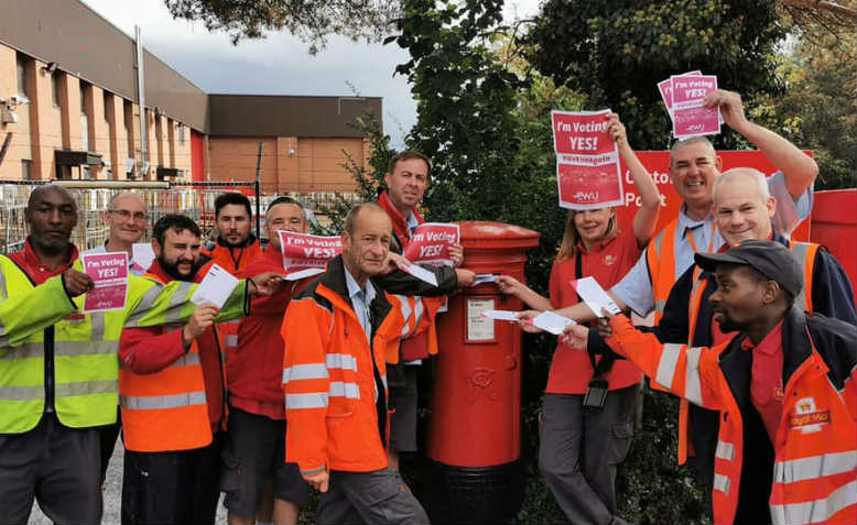 Postal workers voting to take strike action. Photo: Facebook/The Communications Union