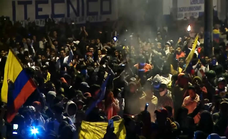 Ecuador protesters celebrate. Photo: YouTube