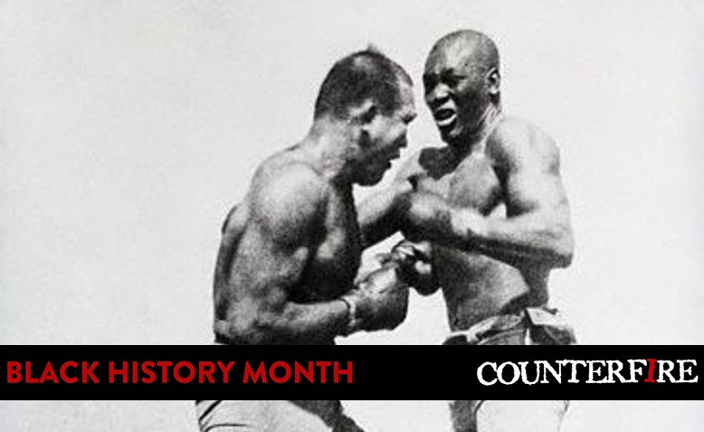 Jack Johnson fights James J Jeffries, 1910. Photo: Wikimedia Commons / Public Domain