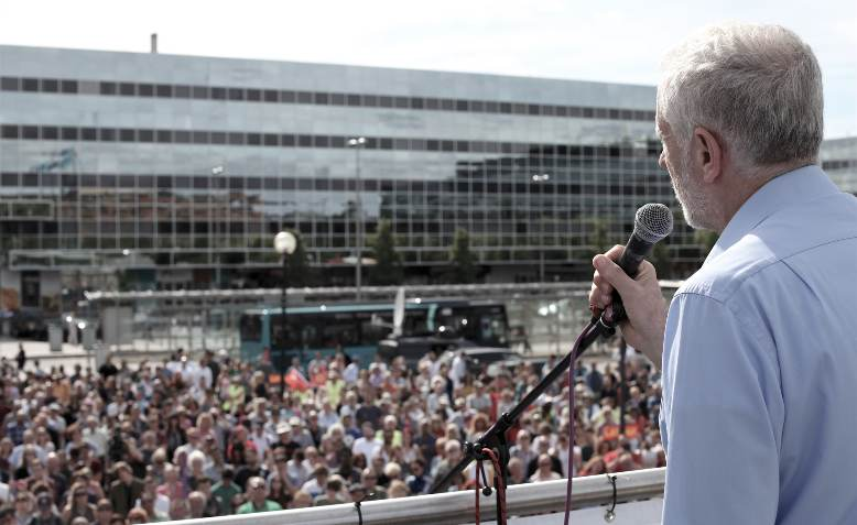 Jeremy Corbyn speaking at a rally. Photo: David Bailey