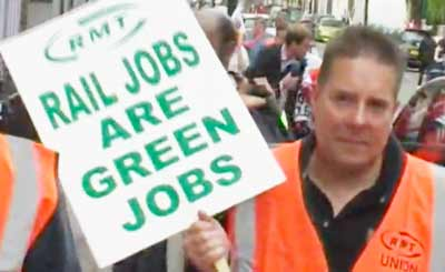 RMT Union member with placard