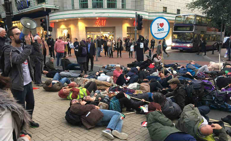 Protesters staging the die-in, Bristol. Photo: William Hendy