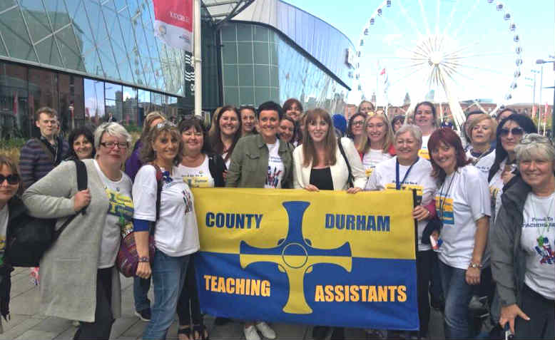 Teaching Assistants in Durham protesting against pay cuts. Photo: @TAs_Durham