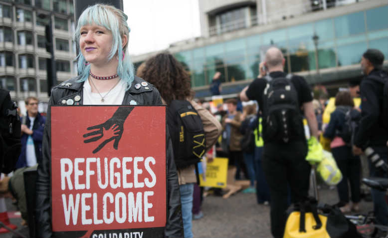 Refugees Welcome Demo, London, September 2016. Photo: Jim Aindow