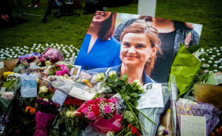 The memorial site for Jo Cox MP at Parliament Square, Westminster, June 2016. Photo: Flickr/ Garry White