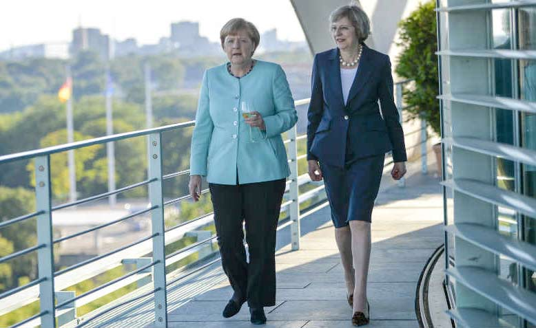 Theresa May visits Angela Merkel in Germany in July 2016. Photo: Flickr/Number 10