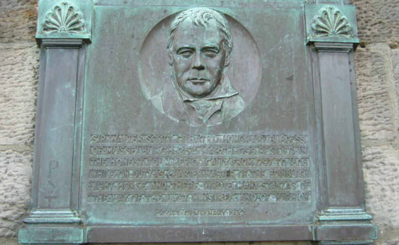 A plaque from 1932 commemorates the poet and novelist being granted freedom of the burgh in 1799. Photo: Kim Traynor