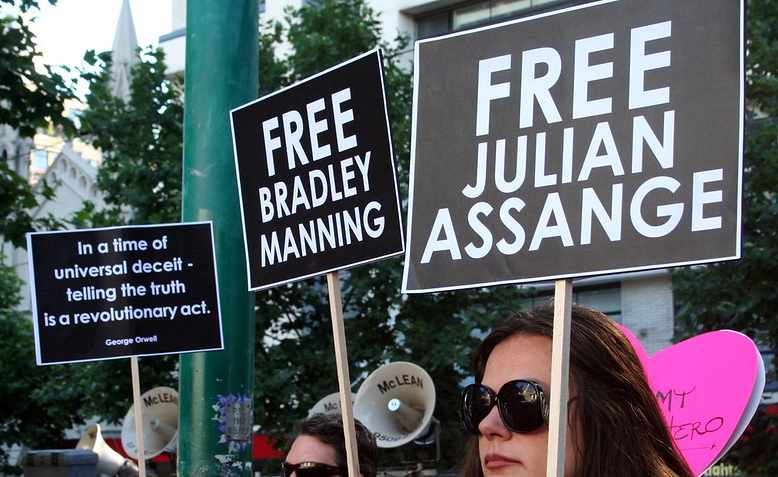 Free Assange protest, Photo: John Englart / cropped from original / licensed under CC BY-SA 2.0, linked at bottom of article