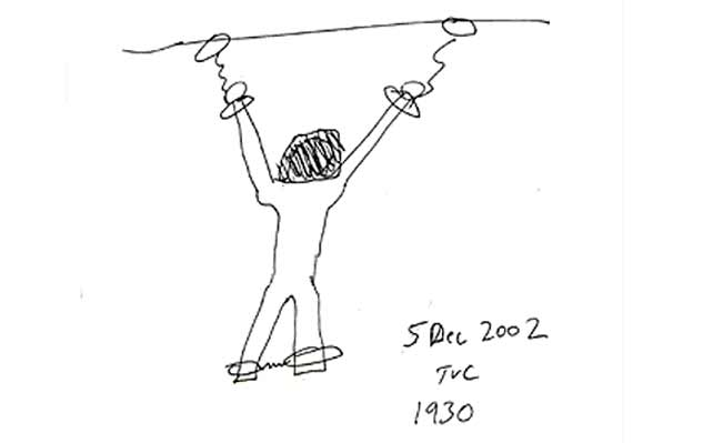 Soldier's drawing of torture methods used on Dilawar, the prisoner depicted in 'Taxi to the Dark Side'