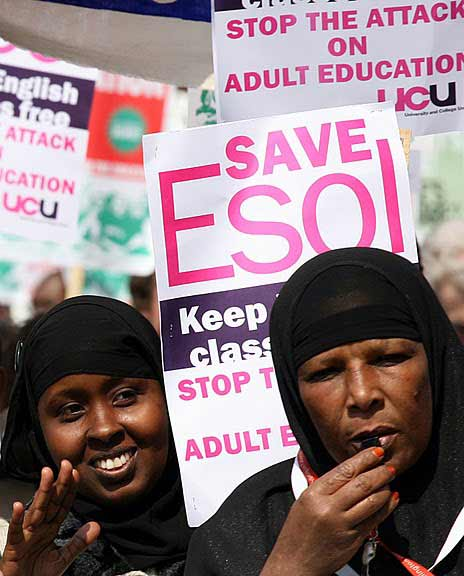 Muslim women protest for ESOL rights