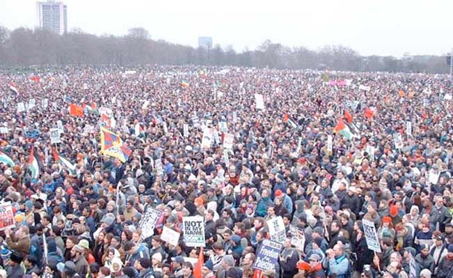Protesters in Hyde Park London Feb 15 2003