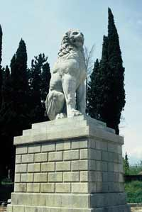 The Lion of Chaeronea - the tomb of Theban soldiers killed in a battle for democracy