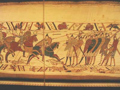 Norman knights and Saxon infantry on the Bayeux Tapestry