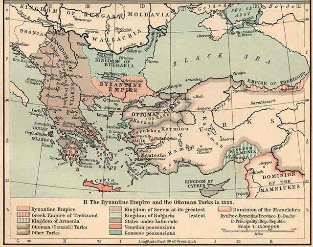 The shrinking Byzantine Empire - immediately before the final collapse