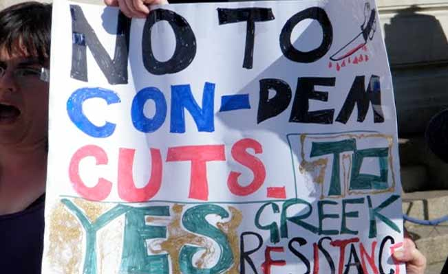 No to cuts placard