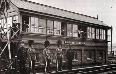 Troops guard a signal box during 1911 rail strike
