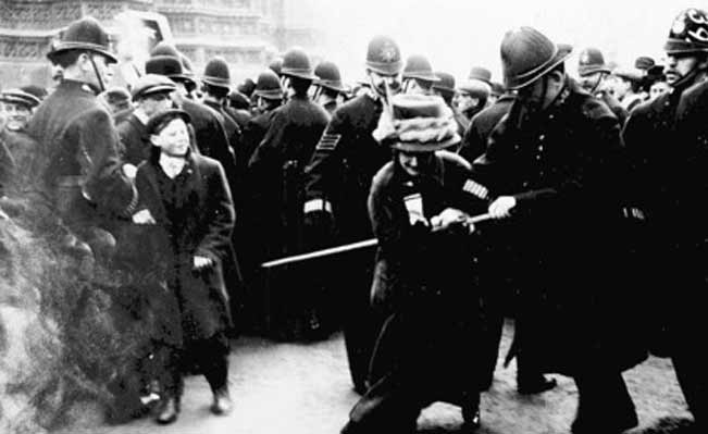Suffragette struggling with the police on Black Friday