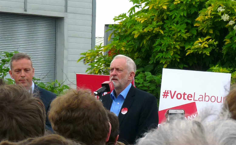 Jeremy Corbyn speaking at a rally in Reading, May 2017. Photo: Wikimedia Commons