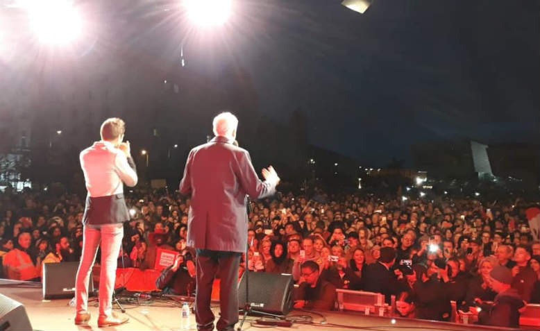 Jeremy Corbyn speaking at eve-of-Conference rally at Liverpool pier. Photo: Penny Hicks