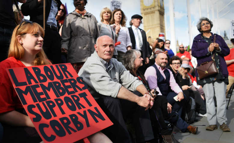 Labour supporters at the 'Keep Corbyn' rally of many thousands in Parliament Square, 27 June 2016 - the evening of a PLP vote of confidence against Corbyn, which sparked the 'Chicken coup'. Photo: Jim Aindow.