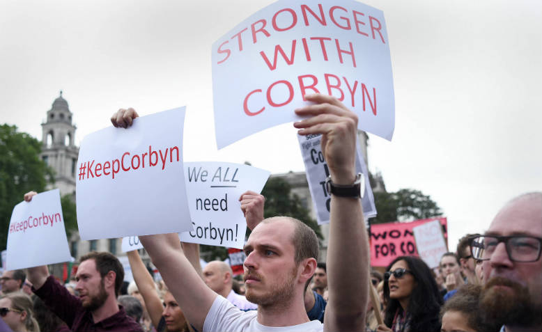 Defend Corbyn Rally, Parliament Square, June 2016. Photo: Jim Aindow