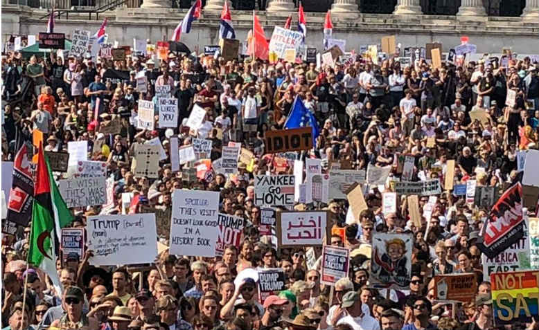 Trump demo, Trafalgar Square, London, July 2018. Photo: Shabbir Lakha