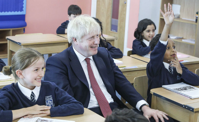 Boris Johnson in a classroom