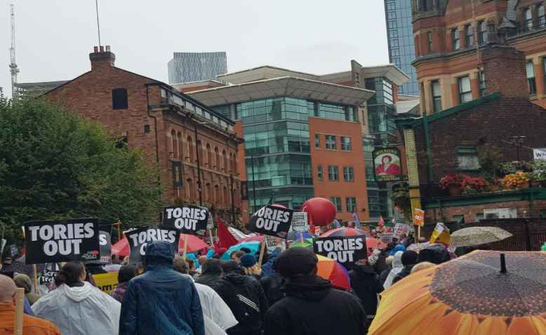 People's Assembly Against Austerity demo, Chepstow St, Manchester, September 29th, 2019. Photo: Chrissy Brand