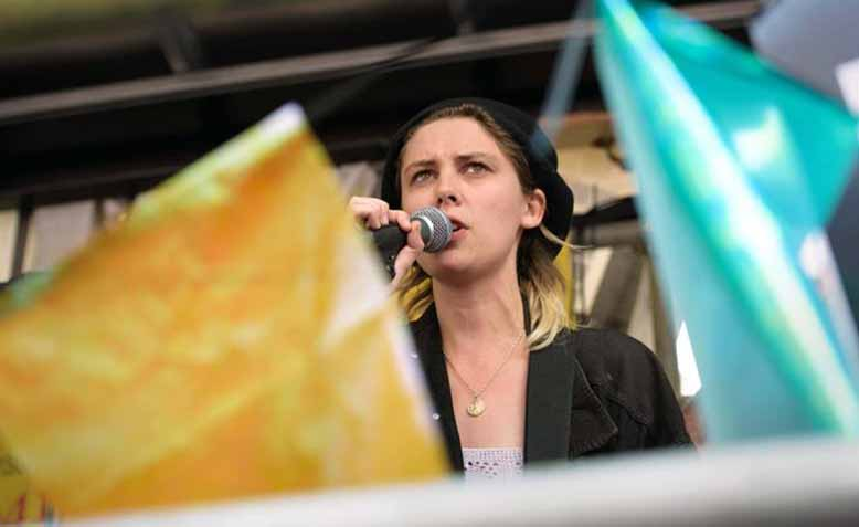 Ellie Rowsell from Wolf Alice speaking at Not one more day #ToriesOut demonstration 1st July. Photo: Jim Aindow