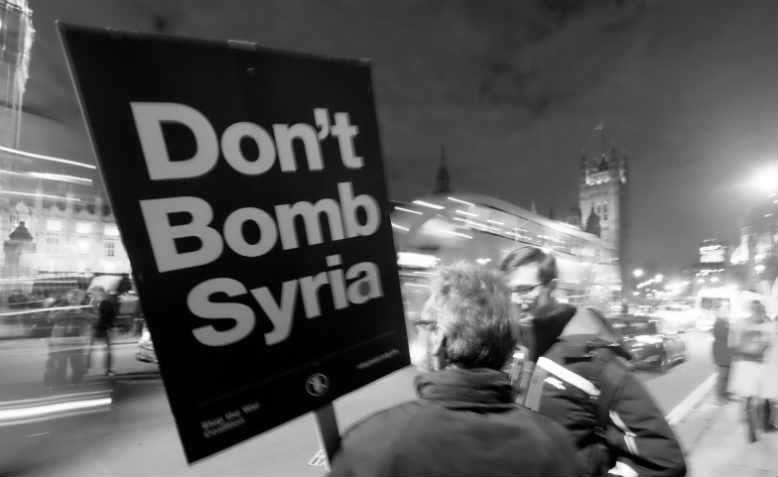 Protesting against David Cameron's bombing in 2015