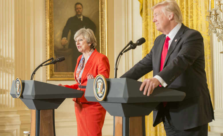 Theresa May and Donald Trump conferring with the press in Washington, January 2017