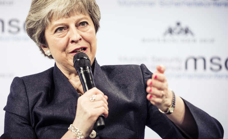 Theresa May at the Munich Security Conference in 2018