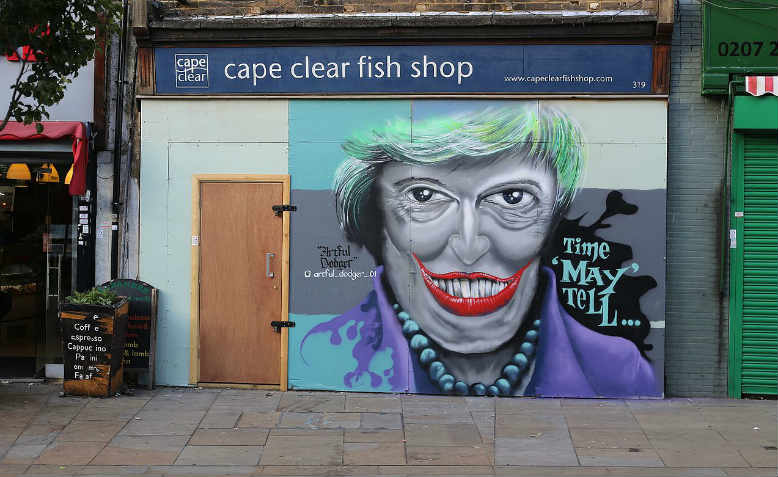 Theresa May in graffiti art, South London