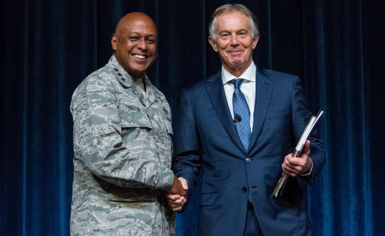 Tony Blair speaking at the Maxwell Air Base, Alabama in 2018. Photo: US Air Force/ Melanie Rodgers Cox