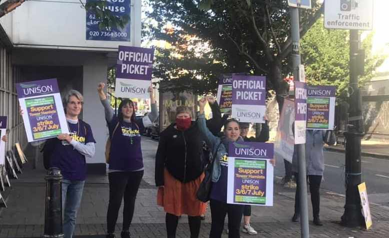 Unison strikers in action, July 2020