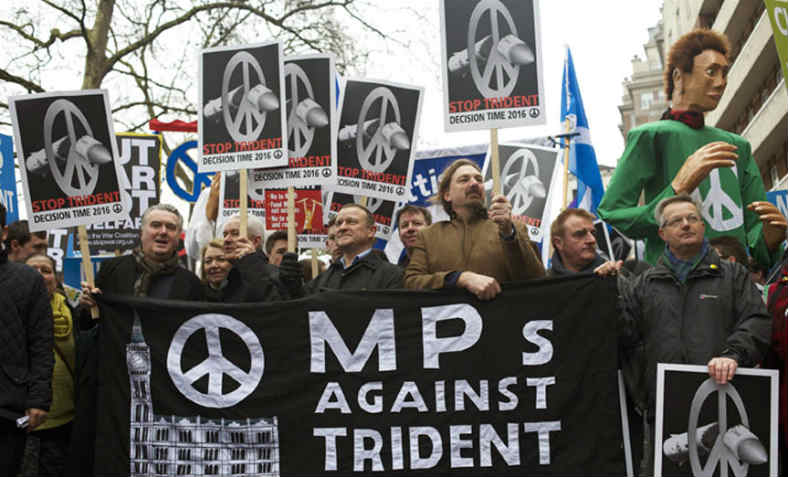 MPs demonstrating against the renewal of Trident nuclear missile system, February 2016. Photo: Flickr/Counterfire