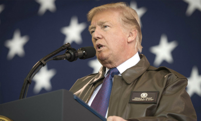 Trump addressing US troops at Yakota air base, November 2017. Photo US Department of Defense