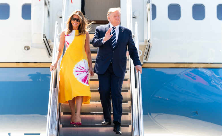 Donald and Melania Trump arrive in Biarritz for the G7 Summit, August 2019. Photo: Flickr/Shealah Craighead