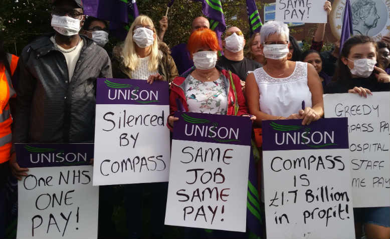 Unison workers striking against Compass in Blackpool, September 2019. Photo: Unison North West region