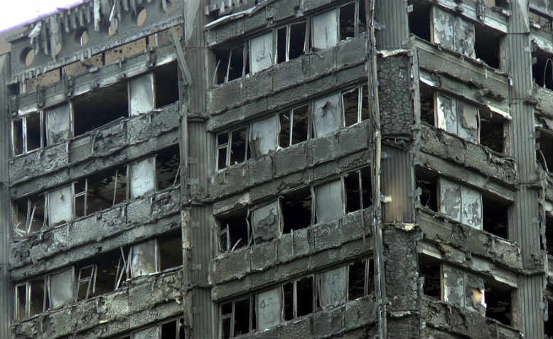 The top floors of Grenfell Tower after the fire