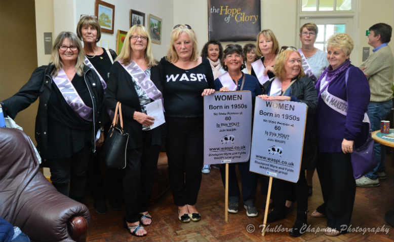 Waspi women waiting to meet Jeremy Corbyn in Cleveleys, Lancashire in 2017. Photo: Flickr/Thulborn-Chapman Photography