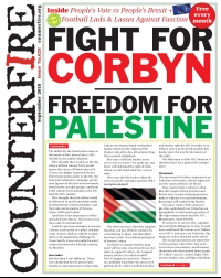Fight for Corbyn, Freedom for Palestine - Counterfire Freesheet September 2018