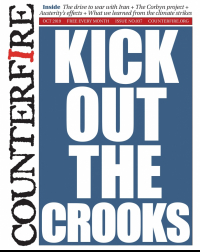 Kick out the crooks - Counterfire freesheet October 2019