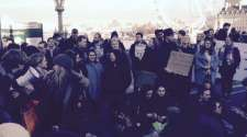 Students block Westminster Bridge