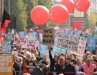 Massive protest across Manchester against the Tory cuts